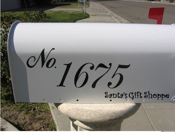 2 Vinyl House NUMBER decals for your MAILBOX - Outside (2- one for each side of mailbox)