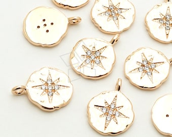 PD-1451-RG / 2 Pcs - CZ North Star Pendant, Textured Disc Pendant (Large Size), Rose Gold Plated over Brass / 10.5mm x 14mm