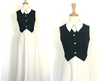 Vintage Tuxedo Dress - Snow White Dress - two tone - 70s dress - maxi - sleeveless - black and white - alternative wedding - S M