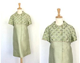 Vintage Sequin Dress - cocktail dress - 60s dress - rhinestone - green silk - holiday party dress - babydoll - alternative wedding - medium
