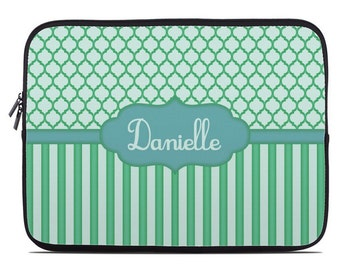 Personalized Laptop Cover, blue green laptop case, monogram laptop sleeve, to fit  10, 13, 15, 17 inch, netbook case, coworker gift