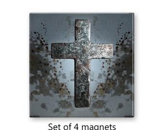 Cross magnets, set of 4 decorative magnets,  fridge magnet set, refrigerator magnets, grunge decor, large magnets, gray magnets