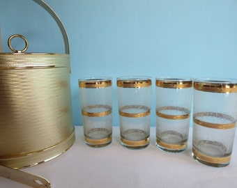 Vintage Culver Gold Frosted Icicle Glasses - Set of 4 Tumblers - Retro Barware