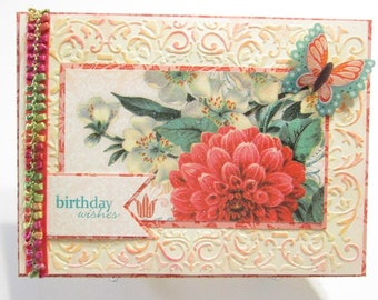 Embossed Birthday Wishes handmade card with touches of glitter