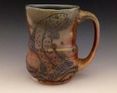 """Pottery Mug, """"Rainbow Trout Leaping for a Dry Fly"""", Wood Fired, 16 oz."""