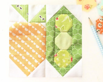 Carrot and Pea Pod Quilt Block PDF Instant Download Quilt Pattern 6 inch and 12 inch block instructions
