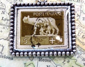 Vintage Italy Postage Stamp Poste Italiane 5 Cent She Wolf Stamp Necklace Pendant Key Ring