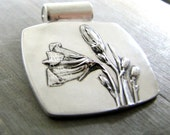 Becoming No. 2, Fine Silver Flower Pendant, Natural Plant Reproduction, Wildflowers, Handmade by SilverWishes