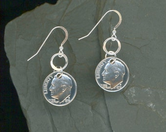 1976 Dime Earrings 40th Birthday Gift 40th Anniversary Gift Coin Jewelry 1976 Dimes