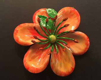 Hattie Carnegie Brooch, Vintage Jewelry, Enamel Jewelry, Vintage Brooch Pin, Hattie Carnegie Jewelry, Enamel Brooch, Orange Floral Brooch