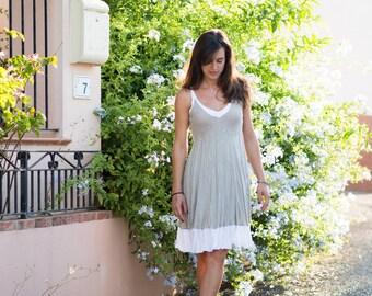 Linen Dress /Short Summer Dress/ Natural Sand and White / Pure Linen /Beach Wedding Dress /