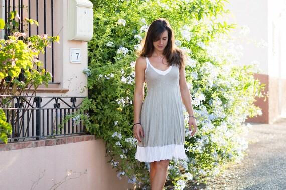 Short Natural and White Linen Dress / Natural Sand White / Summer Dress / Pure Linen / Crinkled Linen /Beach Wedding Dress / Hand Made