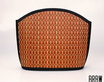 Handmade rust brown shoulder bag purse woven grass not bamboo large clam shape  over the shoulder BRBW