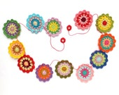 Mandala circles decor - colorful mandala garland - rustic home decor - kids birthday party decoration -unique wall decor ~43.3 inches