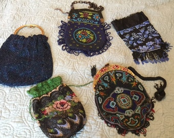 """x 5 Beaded Purses Vintage """"as is"""" Mostly Wonderful, All Unique (FFs5004)"""
