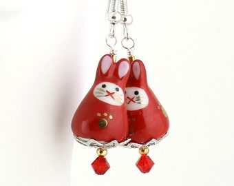Kawaii Cute Earrings - Bright Red Earrings, Ninja Rabbits, Kawaii Bunny Beads, Ruby Crystals, Rabbit Jewelry, Silver Plated Pierced Earwires
