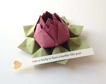Mother's Day - PERSONALIZED Origami Lotus Flower - Rhubarb and Moss Green + gift box - get well, birthday, baby - can send directly