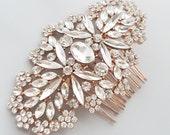 Rose Gold Bridal Haircomb, Rosegold Rhinestone Hair Piece, Crystal Hairpin, Bridal Hair Accessory, Wedding Tiara {ASTERIA  Haircomb}