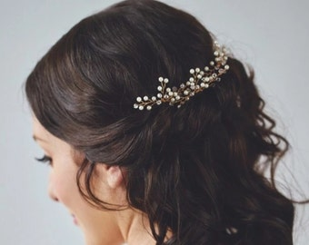 Ivory Wedding Hair Accessory, Gold Pearl Hairpiece, Pearl Hair wreath, Silver Bridal Hair Accessory, Boho Wedding Hair Comb {HESTIA Hairpin}