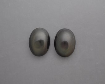 Sheen Obsidian Cabochon Pair