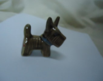 Vintage Schnauzer Dog Standing Figurine, Japan. Brown,  collectable
