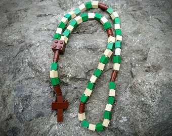 Lego Rosary - The Original Catholic Lego Rosary in Green, Tan and Brown Boys First Communion Gift