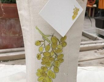 White Wine,Wine Bottle Bag, Bag With Gift Card, Reusable Gift Bag, Wine Tasting Party, Favor, Vineyard Gift, Wedding Favor, Event Favor