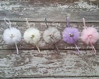 Baby Flower Headband, Tulle Flower Headband, Baby Headband, Newborn Headband, Newborn Flower Headband, Baby Girl Photo Prop