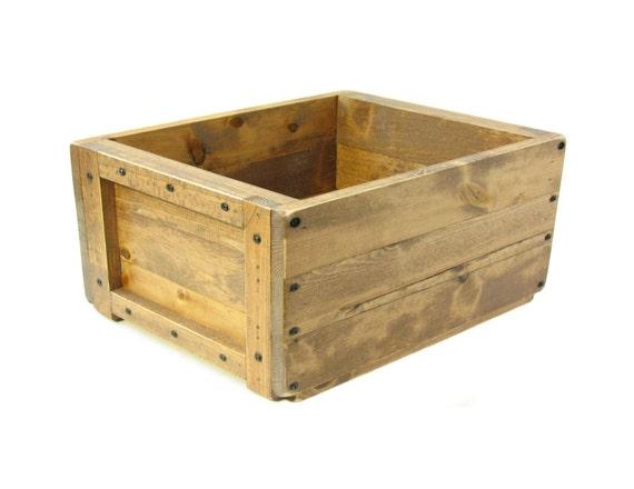 Wooden Box, Wood Storage Crate, Magazine Holder, Remote Caddy, Wooden Bin, Keepsake Box, Memory Box, Toy Box, Custom Engraving Available