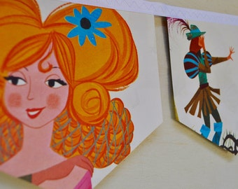 RAPUNZEL Banner Vintage Little Golden Book Bunting childrens decoration nursery decor party storybook banner baby shower fairy tale