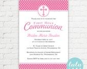 Quatrefoil Printable First Communion Invitation