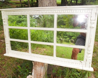 Mantel  window  mirror ,9  pane  distressed  cottage  48  x25 1/2