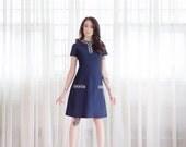 30% OFF SALE - 60s Cocktail Dress - Vintage 1960s Beaded Dress - The Blueprint Dress