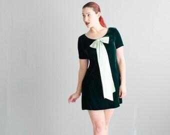 60s Mini Dress - Vintage 1960s Velvet Dress - All Wrapped Up Dress