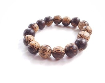 African-inspired, ethnic, wood bead mens bracelet//men's palm wood necklace - The Waheed
