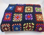 Vintage Granny Squares Afghan Large 54 x 82 inches Wool Classic Afghan Navy Blue Base Color Multicolor Squares Bold Bright Colors Berlou Tag