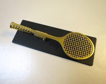 Tennis Racket Clip PaperWeight Black Base Brass Racket Weighted Desk Accessory Felt Bottom Made Taiwan ROC Tennis Gift Paperweight Clip