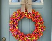 Spring Wreath -  XL Spring Tulip Wreath - Spring Door Wreath