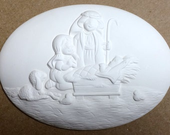 Price Includes Shipping Nativity Plaque Donas Inserts Ready to Paint Ceramic Bisque