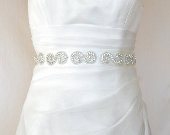 Spiral Elegant Rhinestone  Beaded Wedding Dress Sash Belt