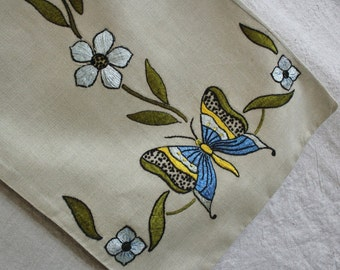 Vintage Arts and Crafts Embroidered Linen Pillow Cover