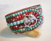 Turquoise Jewelry Cuff Leather Bracelet Red and Turquoise Beaded Bracelet
