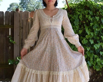 Vintage Gunne Sax Style Homespun Brand Dress