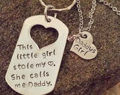 Daddy's Girl Crystal Birthstone Heart Charm Necklace w/ This Little Girl Stole My Heart She Calls Me Daddy on Dog Tag / Father and Daughter