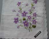 Vintage Hankie Violets  Embroidered Flowers Bouquet Original Tag Swiss  Beautiful