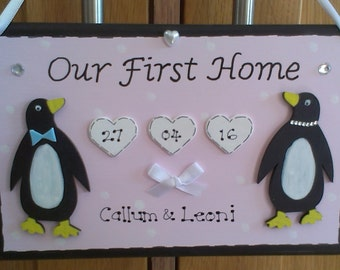 Personalised Our 1st Home Penguin Couple New House Warming Gift Plaque Sign