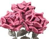 3 maroon leather rose bouquet third Anniversary wedding gift Long Stem leather Flower Valentine's Day 3rd Leather Anniversary Mother's Day