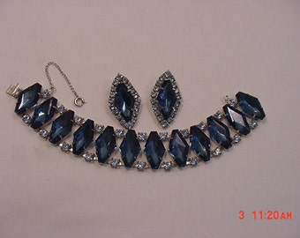 Vintage Blues Rhinestone Bracelet With Safety Chain & Clip On Earring Set   16 - 148