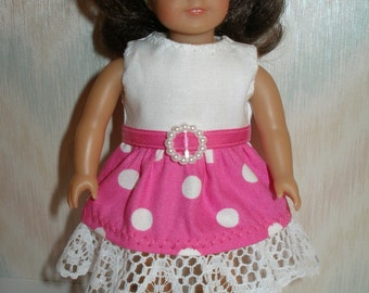 Dress for 6 1/2 inch dolls -- pink and white dot print