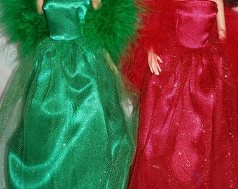 """Handmade 11.5"""" fashion doll clothes -Your Choice -- Yellow, Green or Red Satin and Glitter Tulle Gown with Boa"""